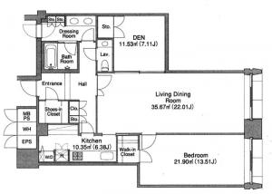 La Tour Hanzomon 1205 Floor Plan