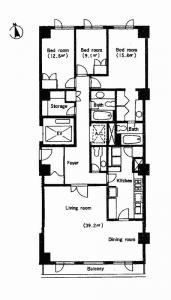Azabu Terrace Apartment 206 Floor Plan