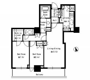 Park Tower Shibaura Bayward Urban Wing 1304 Floor Plan