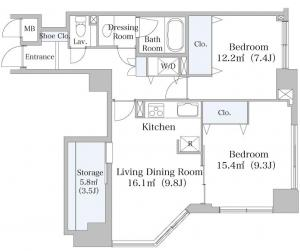 Nihonbashi-hakozaki City Heights 1203 Floor Plan