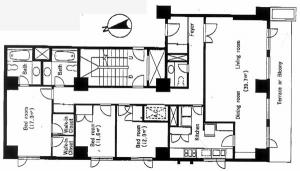 Azabu Terrace Apartment 307 Floor Plan