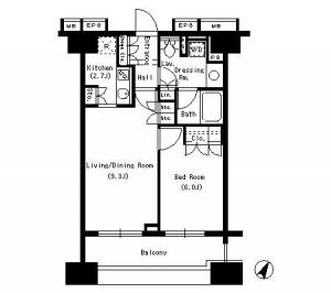 Park Axis Shirokanedai 1305 Floor Plan